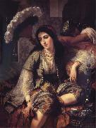 Ange Tissier Algerian Woman and her slave oil
